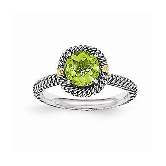 925 Sterling Argent Avec 14k Round Peridot Ring Jewelry Gifts for Women - Ring Size: 7 to 8
