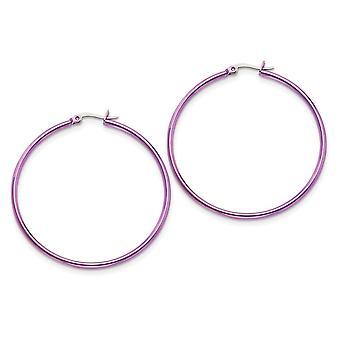 rustfritt stål polert hengslet hoop rosa IP belagt rosa 48mm hoop øredobber måler 45x2mm bred 2mm tykke smykker gaver