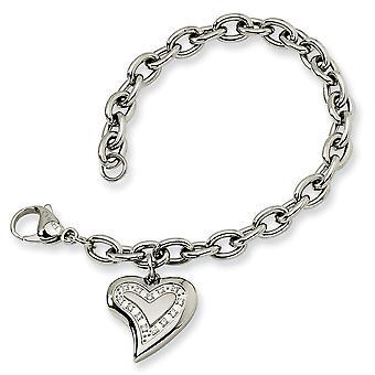 Edelstahl poliert Fancy Hummer Verschluss CZ Zirkonia simuliert Diamant Liebe Herz Charm Fancy Armband 7,5 i