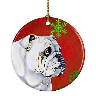 Bulldog Inglés copo de nieve rojo vacaciones Navidad adorno cerámica LH9319