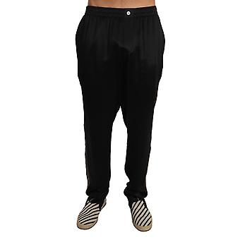 Lounge Solid Black Silk Sleepwear Pajama Pants