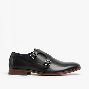 Base London Montage Mens Leather Monk Strap Shoes Waxy Black