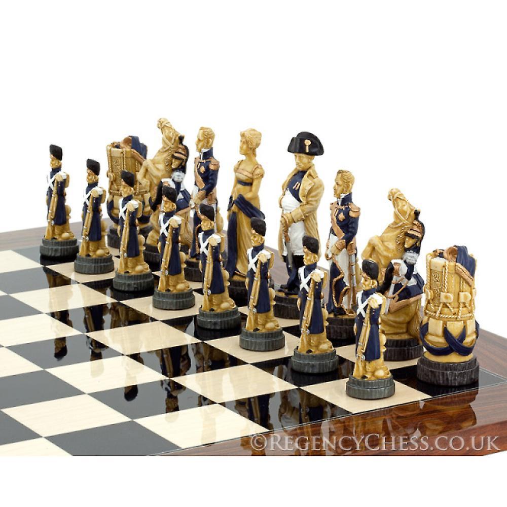 Battle of Waterloo Hand Painted Palisander Chess Set