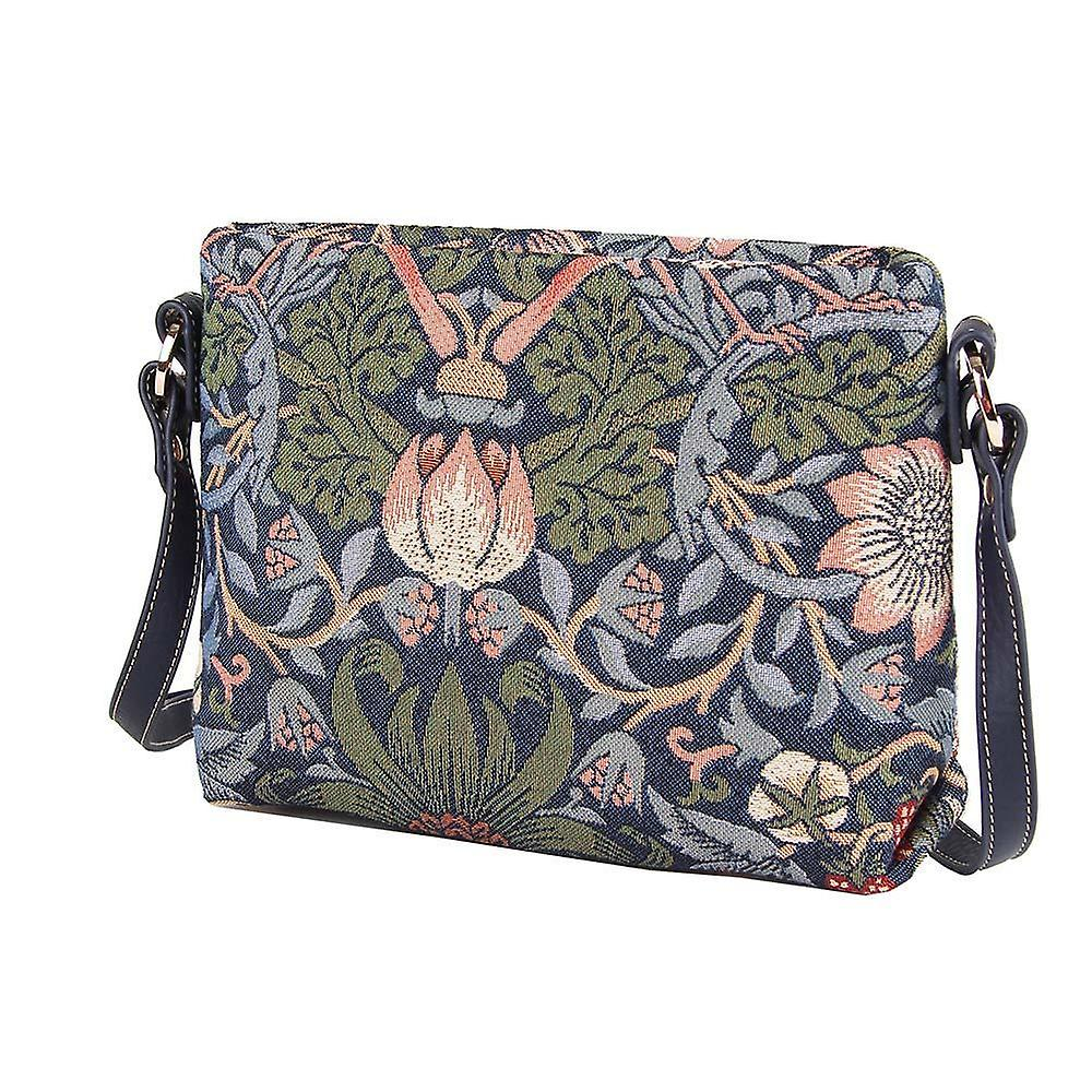 William morris - strawberry thief blue cross body bag by signare tapestry / xb02-stbl