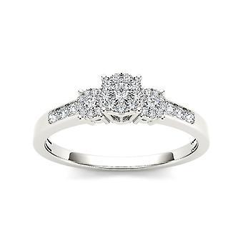 Igi gecertificeerd 10k wit goud 0,33 ct diamant drie stenen cluster verlovingsring