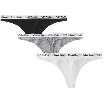 Calvin Klein Women's Carousel Logo Cotton Thong Panty 3 Pack, Black/White/Gre...