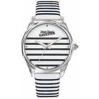 Jean-Paul Gaultier Watch 8502416-Lær armbånd Bicolore Bleu Blanc boitier Silver Steel kvinner