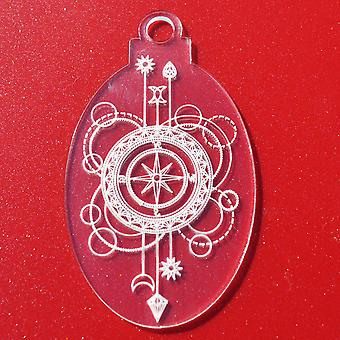 6 PK Kompass Oval klar Acryl Weihnachtsdekorationen