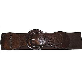 Brown Elasticated Waist Belt with Shiny Buckle