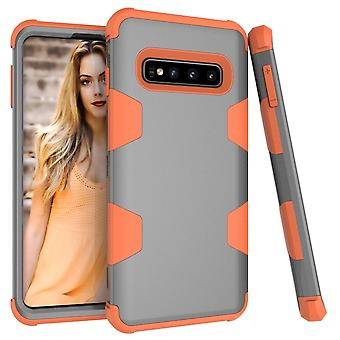 For Samsung Galaxy S10 Case, Grey & Orange Armour TPU & PC Shockproof Back Cover