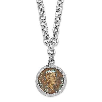 19.5mm 925 Sterling Argent Rhodium plaqué Bronze Roman Coin Necklace 18 Inch Bijoux Cadeaux pour les femmes