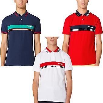 Wrangler Mens SS Colourblock Short Sleeve Cotton Casual Polo Shirt Top