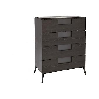 Gillmore Wide Four Drawer Chest In Dark Charcoal Wood With Gun Metal Legs