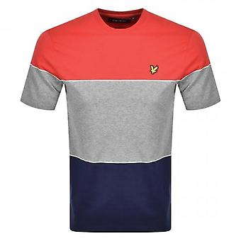 Lyle et Scott Wide Multi Stripe Crew Neck T-Shirt Red Navy TS1227V