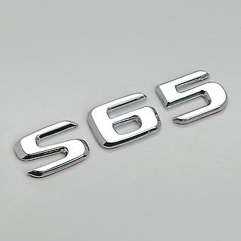 Silver Chrome S65 Flat Mercedes Benz Car Model Rear Boot Number Letter Sticker Decal Badge Emblem For S Class W220 W221 W222/C217/A217 AMG