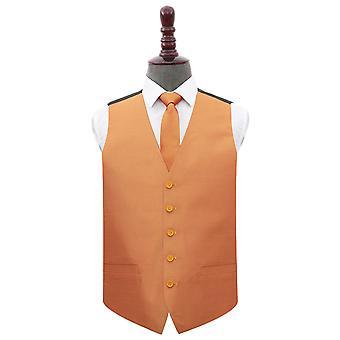 Turmeric Yellow Plain Shantung Wedding Waistcoat & Tie Set