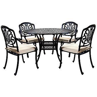 Charles Bentley Premium Furniture Cast Aluminium 4 Seater Outdoor Dining Set