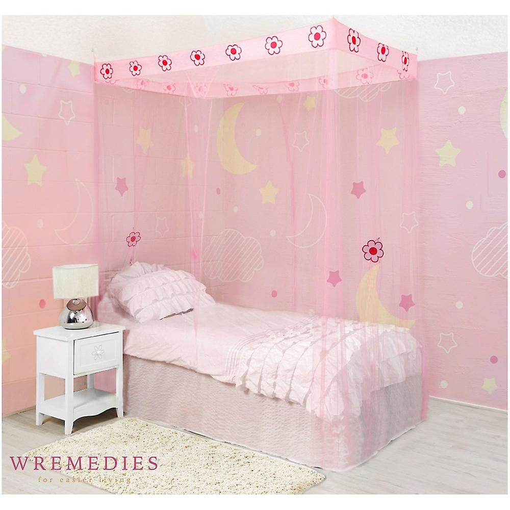 Girls 4 Poster Flower Mosquito Net Bed Canopy