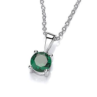 David Deyong Sterling Silver Created Green Emerald Necklace May Birthstone