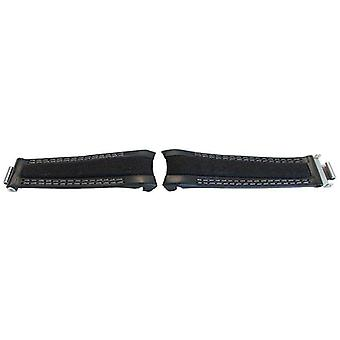 Watch strap made by w&cp to fit rolex gmt & oyster smooth black calf leather & fabric hybrid watch strap 20mm grey stitch