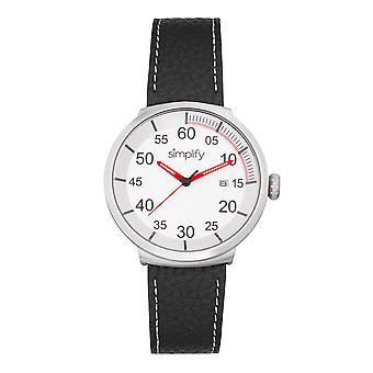 Vereenvoudig de 7100 Leather-Band Watch w/Date - Zwart/Zilver