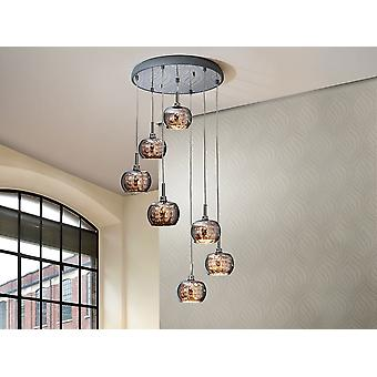Schuller Ari - Lamp of 7 lights made of steel, bright finish. Shimmered glass shades with crystal beads stripes inside. DIMMABLE. Remote control included. - 193453D