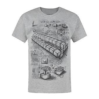 Minecraft Boys T-shirt Blueprint Short Sleeve Grey Kids Top