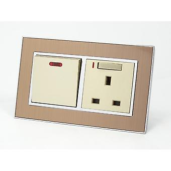 I LumoS AS Luxury Gold Satin Metal 45A Switch with Switched Neon 13A UK Socket