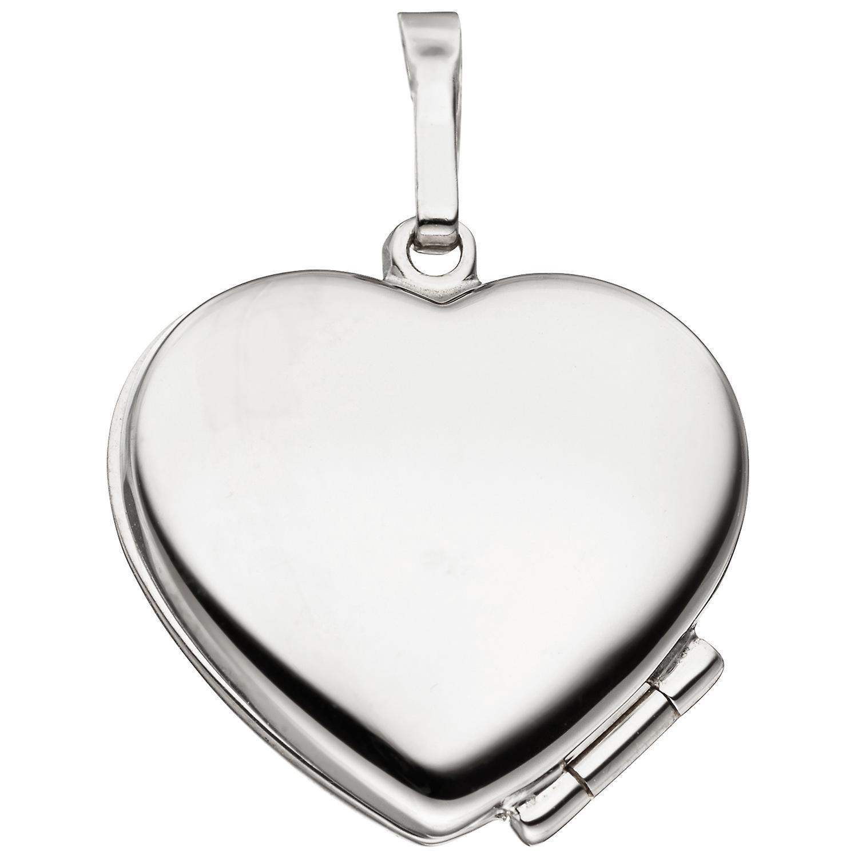 Damen Medaillon Herz für 2 Fotos 925 Sterling Silber eismatt Anhänger zum Öffnen