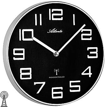 Atlanta 4386/19 mur radio-réveil radiocommandés murale horloge analogique argent/noir rond