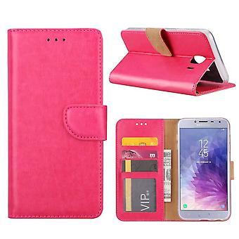 FONU Bücherregal Fall Samsung Galaxy J4 (SM-J400) - dunkelrosa