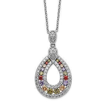 18.18mm Cheryl M 925 Sterling Zilver Multicolor CZ Cubic Zirconia Gesimuleerde Diamanten Ketting 18 Inch Sieraden Geschenken voor W