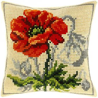 Orchidea Tapestry Cross Stitch Cushion Cover - Red Flower