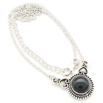 Onyx Necklace 925 Silver Sterling Silver Necklace Black (MCO 10-03)
