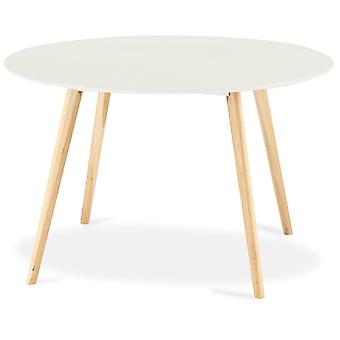 Furnhouse Life Round Dining Table, White Top, Natural Legs, 120x120x75 cm