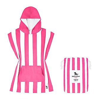 Kids poncho - quick dry hooded towel - phi phi pink