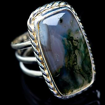 Large Green Moss Agate Ring Size 8 (925 Sterling Silver)  - Handmade Boho Vintage Jewelry RING5770