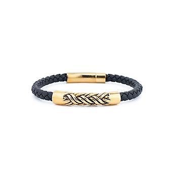 31MADISON lederen & goud staal touw armband
