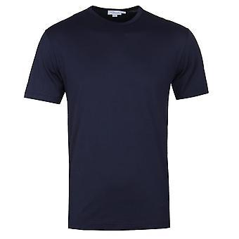 Sunspel Navy Short Sleeve Crew Neck T-Shirt