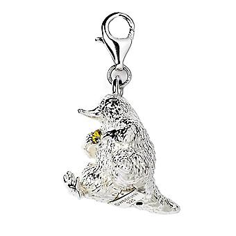 Fantastic Beasts Sterling Silver Niffler Clip on Charm with Swarovski Crystals