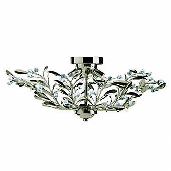6 Light Flush Multi Arm Plafond Lumière Antique Brass, Cristal