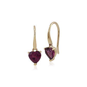 Klassische Herz Rhodolit Granat Kralle Set Herz Tropfen Ohrringe in 9ct Gelbgold 135E1258049