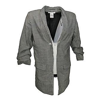 K Jordan Women's Suit Jacket/Blazer Xadrez Blazer 3/4 Manga Cinza