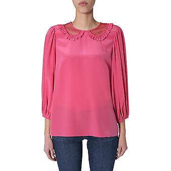 Rood Valentino Tr0aab45323ce7 Dames's Roze Zijden Blouse