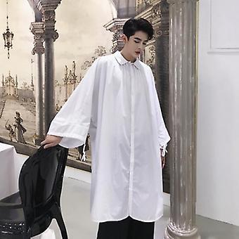 Wit lang shirt losse bat lantaarnmouw oversized tops met zakken