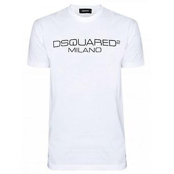DSQUARED2 Valkoinen Painettu Milano Logo T-paita
