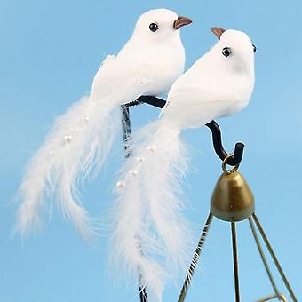 Espuma artificial blanco paloma pluma ornamento decorativo - falsa paloma