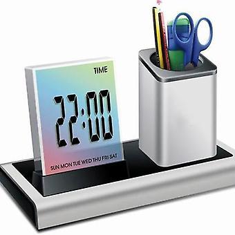 Loskii dx-222 colorful black digital led desk alarm clock mesh pen holder calendar timer thermometer