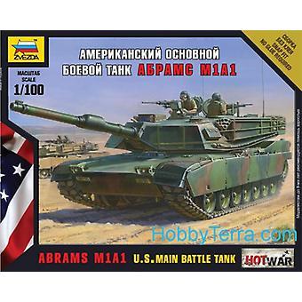 Zvezda Model Kit-Abrams M1A1 USA fő harckocsi-1:100 skála-7405