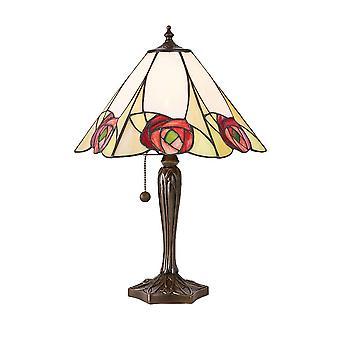 Interieurs Ingram - 1 Licht Medium Tischlampe Tiffany Glas, dunkle BronzeFarbe mit Highlights, E27